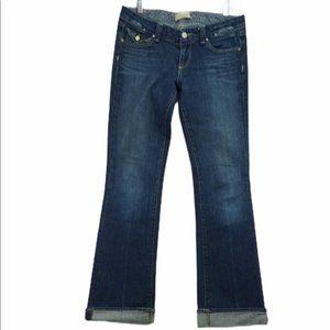 Paige Distressed Dark Wash Boot Cut Jeans